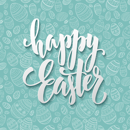 easter flowers: Happy Easter Egg lettering on seamless background. Vector illustration EPS10