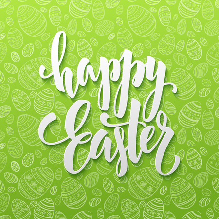 easter card: Happy Easter Egg lettering on seamless background. Vector illustration EPS10