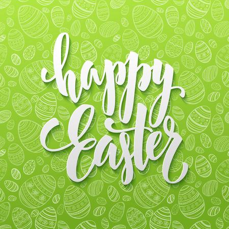 feliz: letras feliz del huevo de Pascua en el fondo sin fisuras. ilustración vectorial EPS10