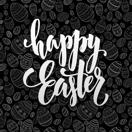 easter background: Lettering Easter greeting card template in chalkboard style. Vector illustration EPS10
