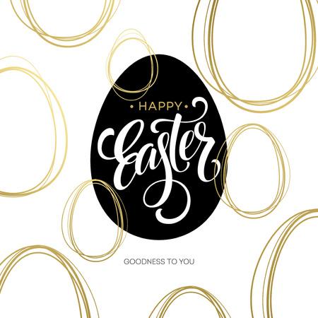 Bonne Pâques d'or Lettrage Egg. Vector illustration EPS10 Banque d'images - 52295124