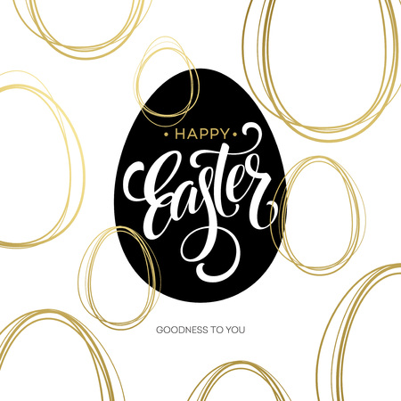 Happy Easter  Easter Golden Lettering Egg. Vector illustration EPS10