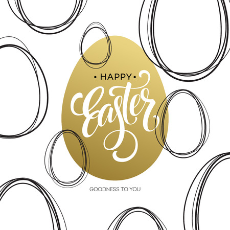 golden egg: Happy Easter  Easter Golden Lettering Egg. Vector illustration EPS10
