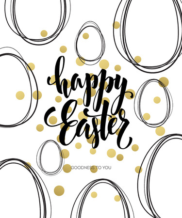easter background: Happy Easter  Easter Golden Lettering Egg. Vector illustration EPS10