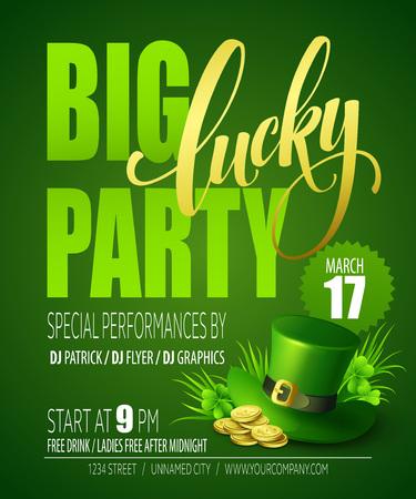 st patricks party: Lucky Party Poster. St. Patricks Day. Vector illustration EPS10 Illustration
