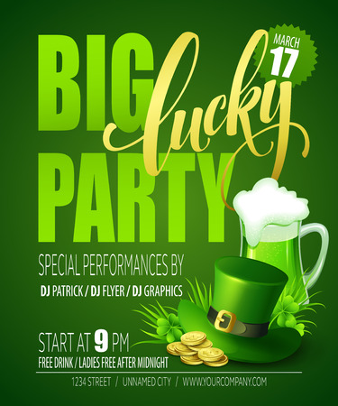 Lucky Party Poster. St. Patricks Day. Vector illustration EPS10 Illustration