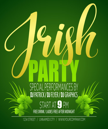 march 17: Irish Party Poster. St. Patricks Day. Vector illustration EPS10