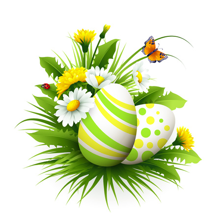religious text: Easter card with eggs and flowers. Vector illustration EPS10