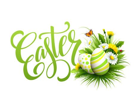 russian easter: Easter greeting. Lettering Flower Egg. Vector illustration EPS10