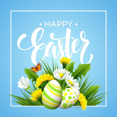 Pasen groet. Belettering Flower Egg. Vector illustratie EPS10