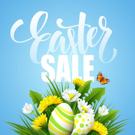 huevo caricatura: de felicitación de Pascua. La flor del huevo letras. ilustración vectorial EPS10