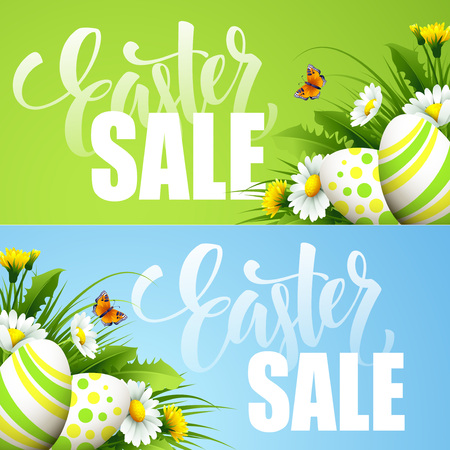 Easter sale background with eggs and spring flower. Vector illustration EPS