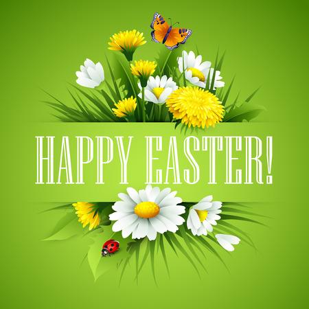 cartoon egg: Easter greeting. Lettering Flower Egg. Vector illustration EPS10