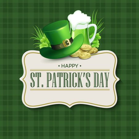 Día del St. Patricks diseño de la vendimia de fiesta tarjeta de identificación. ilustración vectorial EPS10 Ilustración de vector
