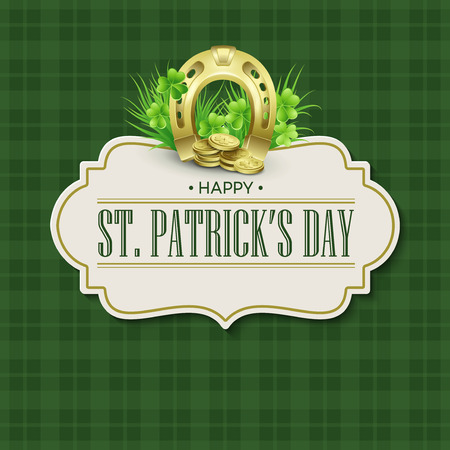 St. Patricks Day vintage holiday badge design. Vector illustration EPS10 Иллюстрация