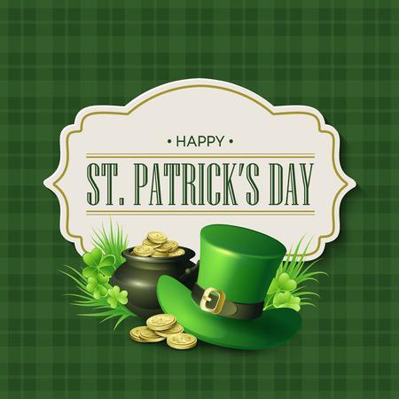 Día del St. Patricks diseño de la vendimia de fiesta tarjeta de identificación. ilustración vectorial EPS10 Foto de archivo - 52368475