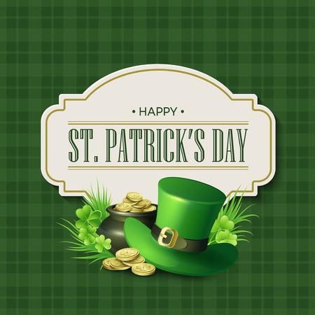 ire: St. Patricks Day vintage holiday badge design. Vector illustration EPS10 Illustration