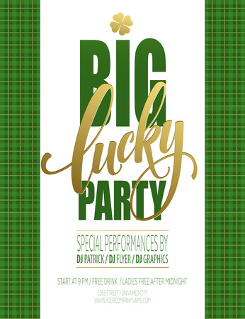 Lucky Party Poster. St. Patricks Day. Vector illustration EPS10 Ilustração