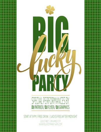 Lucky Party Poster. St. Patricks Day. Vector illustration EPS10 Stock Illustratie