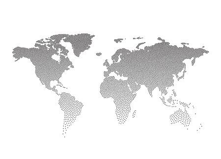 illustrated globe: Black Dotted world map. Vector illustration EPS10