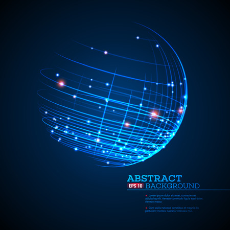 Point and curve constructed the sphere wireframe, technological sense abstract background. Vector illustration EPS10 Фото со стока - 52434448