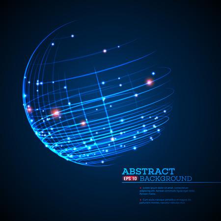 ポイントやカーブ球ワイヤ フレーム、技術的な感覚の抽象的な背景を構築しました。ベクトル図 EPS10  イラスト・ベクター素材