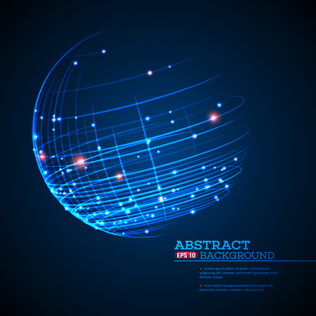 Point and curve constructed the sphere wireframe, technological sense abstract background. Vector illustration EPS10