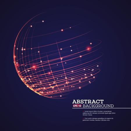 Point en curve geconstrueerd de bol wireframe, technologische zin abstracte achtergrond. Vector illustratie EPS10