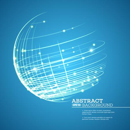 Punto y la curva construyen la esfera de estructura metálica, sentido tecnológico de fondo abstracto. ilustración vectorial EPS10