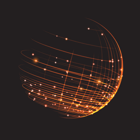 Punto e la curva costruito il wireframe sfera, senso tecnologico astratto. Vector illustration EPS10
