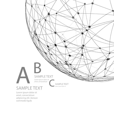 Wireframe mesh polygonal element. Sphere with connected lines and dots. Vector illustration EPS10
