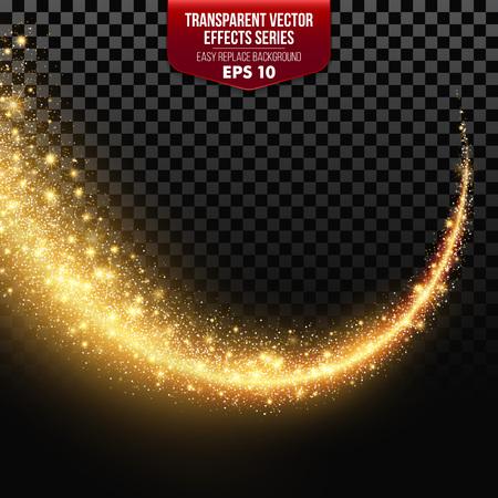 透明な粒子でホワイト スターの道。ベクトル効果 EPS10