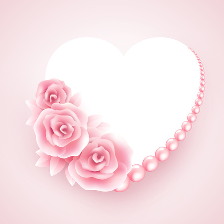 pearl: Pink roses, pearl and heart shap frame. Vector illustration EPS10 Illustration
