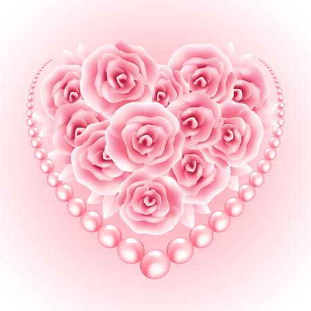 Roze rozen, parel en hart shap frame. Vector illustratie EPS10