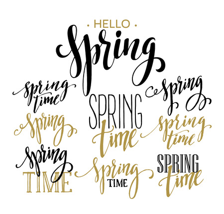 typography: Spring Time, Hello Spring lettering set. Vector illustration EPS10