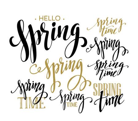 spring time: Spring Time, Hello Spring lettering set. Vector illustration EPS10