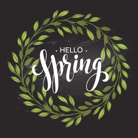 Hello spring. Spring wreath. Spring flowers are drawn with chalk on black chalkboard. Sketch, design elements.