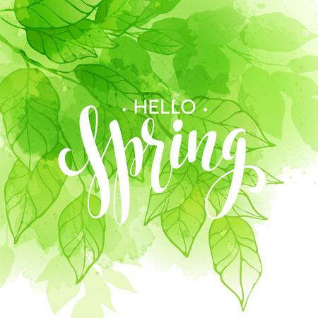 hand lettered: Hand lettered style spring design on watercolor leaf background.