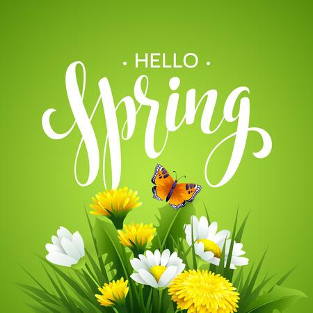 patrones de flores: La inscripci�n del tiempo de primavera.