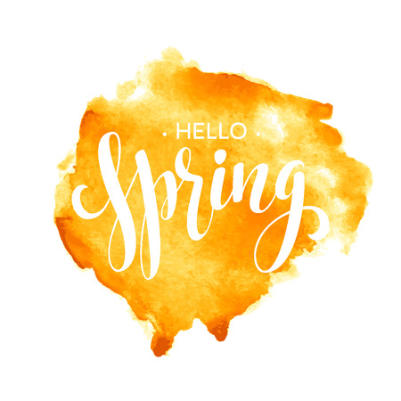 Hello Spring  watercolor lettering design.