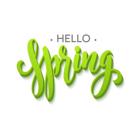 Hallo Frühling Schriftzug Design.