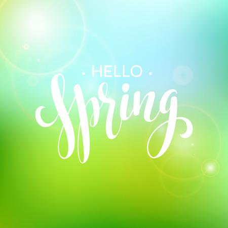 Hello Spring lettering design.
