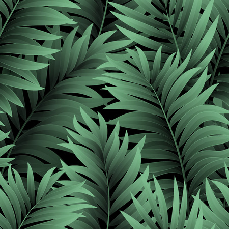 Leaves of palm tree. Seamless pattern.