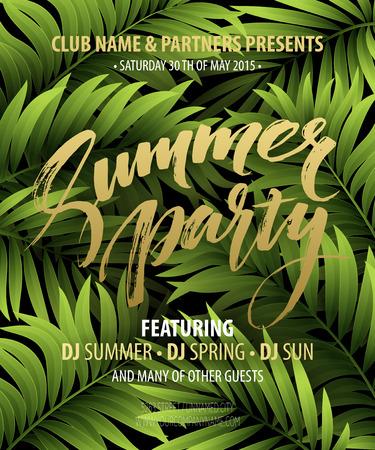 夏日派对海报,棕榈叶和字母。