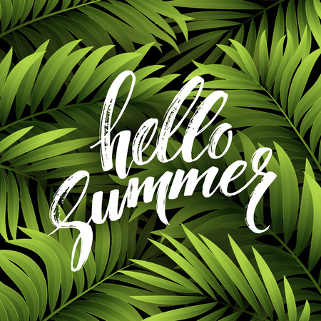 与棕榈叶和手书面文本的夏天背景。