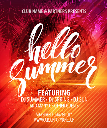 Summer party poster with palm leaf and lettering.
