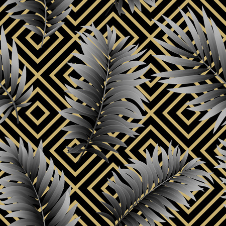 vintage pattern: Tropical  palm leaves seamless geometric background.