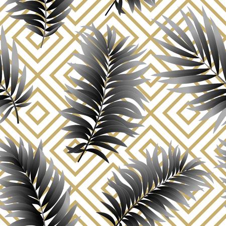 feminine background: Tropical  palm leaves seamless geometric background.