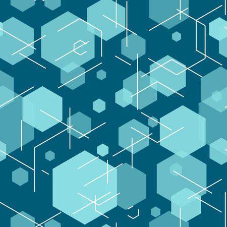 Hexagon seamless tech pattern.
