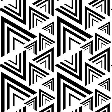 blanco negro: negro triángulo, modelo blanco sin costuras. Vectores
